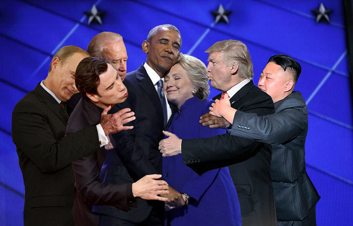 obama and clinton�s hug was perfect until photoshop trolls