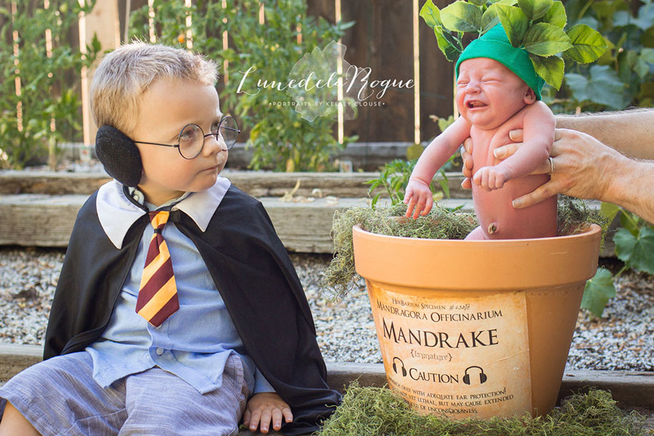 Harry Potter Themed Photoshoot With A Screeching Mandrake Baby