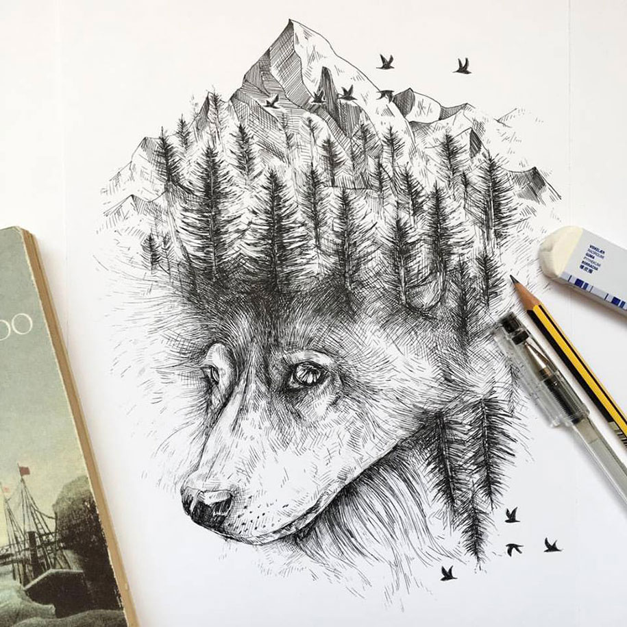 pen-ink-animal-trees-illustrations-alfred-basha-13