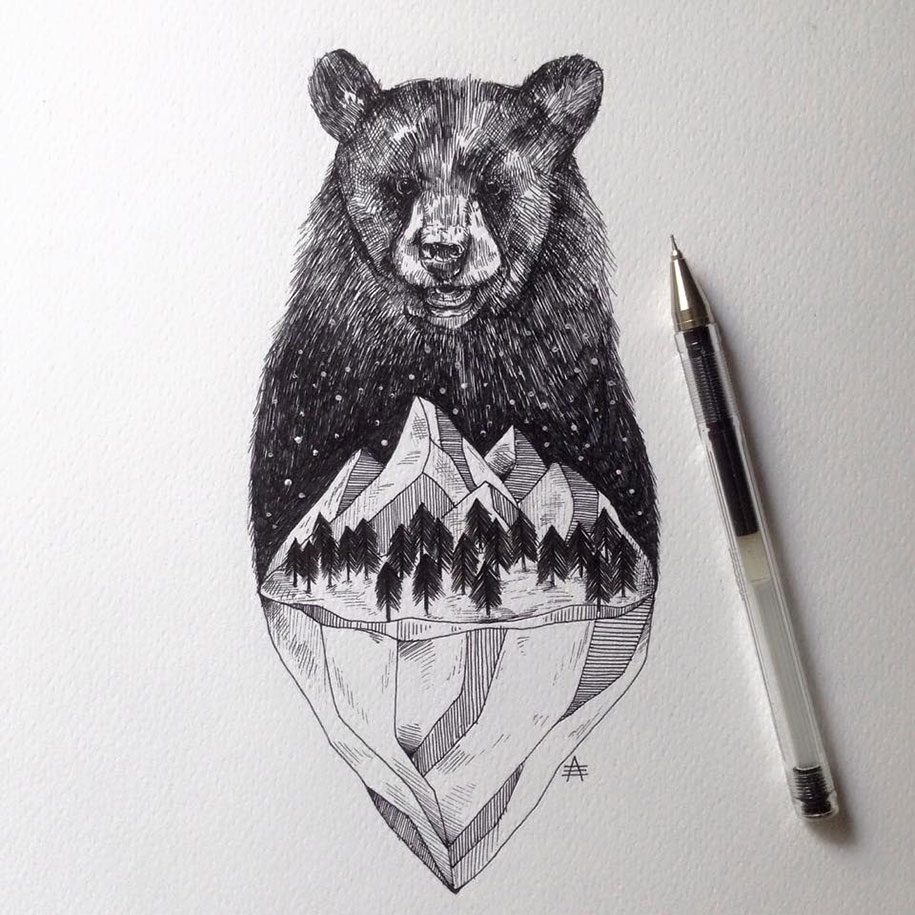 Ink Illustration: Trees Grow Into Majestic Animals In Pen & Ink