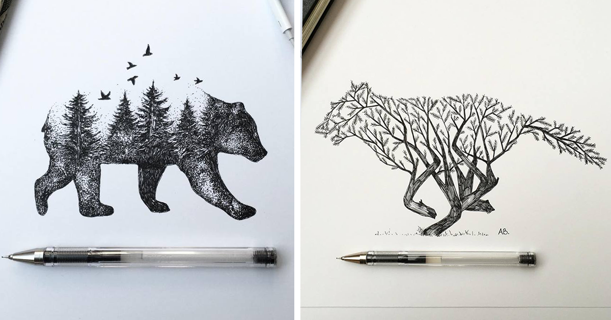Trees Grow Into Majestic Animals In Pen & Ink