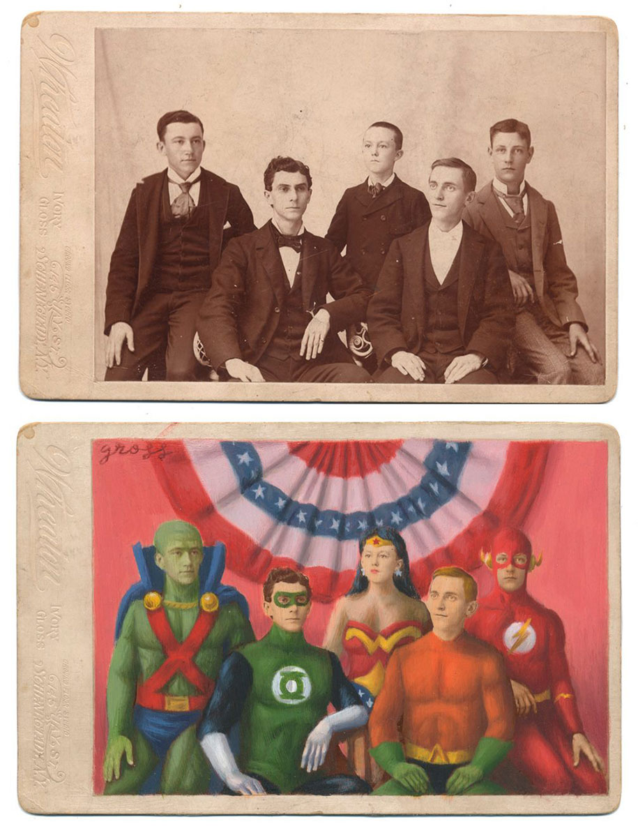 artist transforms old portraits into vintage superheroes. Black Bedroom Furniture Sets. Home Design Ideas