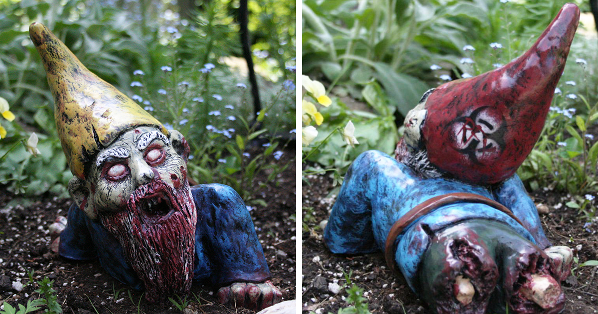 Zombie gnomes are a perfect way to keep everyone from your for Garden gnome tattoo designs