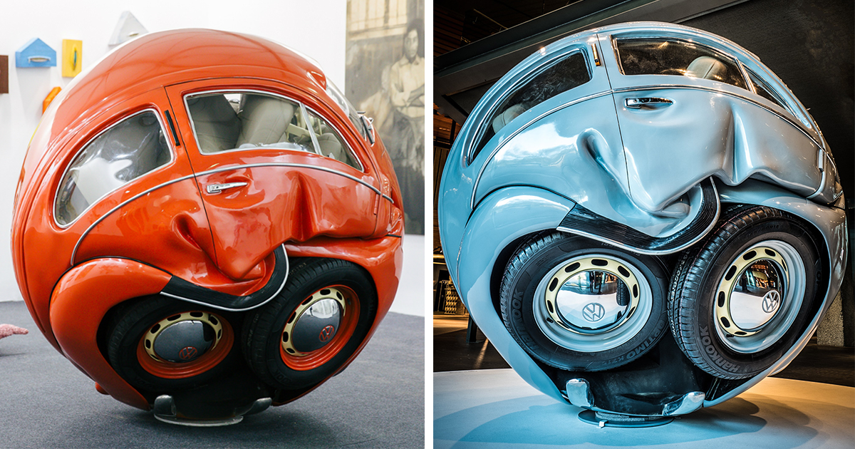artist turns full size vw beetles into perfect spheres. Black Bedroom Furniture Sets. Home Design Ideas