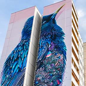 Giant Story Mural Of A Diving Dog Adds Colour To A Street In Belgium - Building in berlin gets transformed by amazing 137 foot tall starling mural