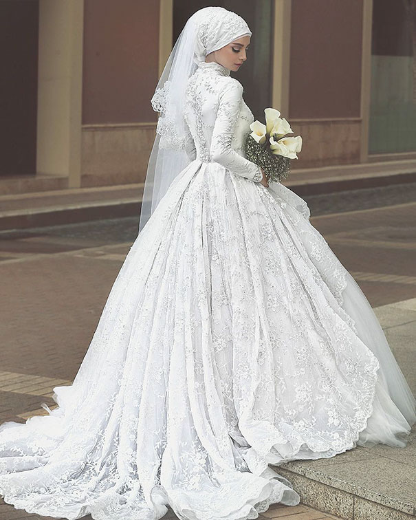 Islamic Wedding Dresses For   : Traditional islamic hijab wedding dresses