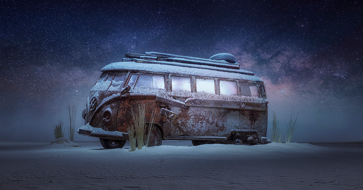photographer creates mystery with a toy car and a bag of flour
