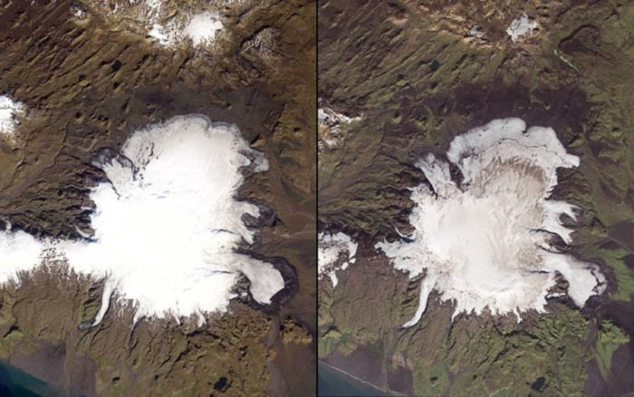 The image shows the fast shrinking of Myrdalsjökull, Iceland's fourth largest ice cap. The image on the left was taken in 1986 and the image on the right was taken in 2014.