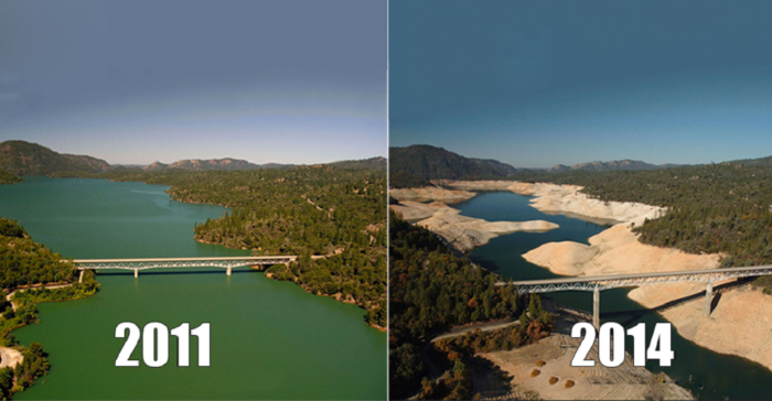 "The Enterprise Bridge passes over a section of Lake Oroville in 2011 (left) and 2014 (right) in Oroville, California, which is experiencing ""exceptional"" drought."