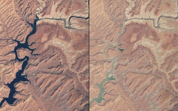 The image below shows how Lake Powell on the Arizona-Utah border has been drying up due to prolonged drought coupled with water withdrawls