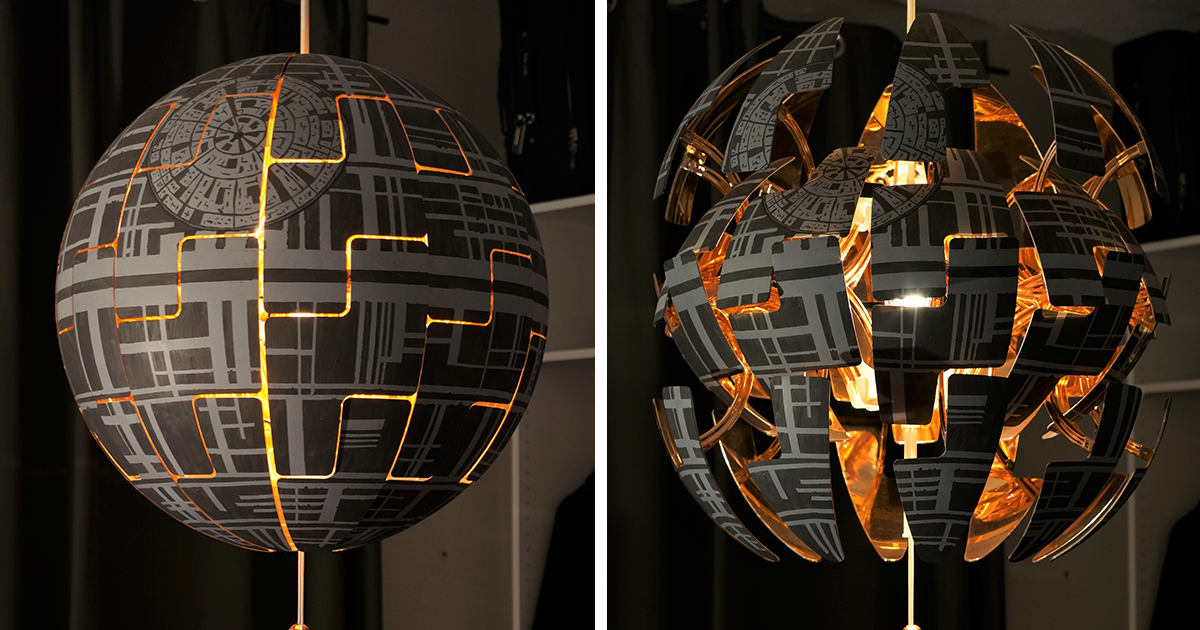 woman turns ikea lamp into a death star. Black Bedroom Furniture Sets. Home Design Ideas