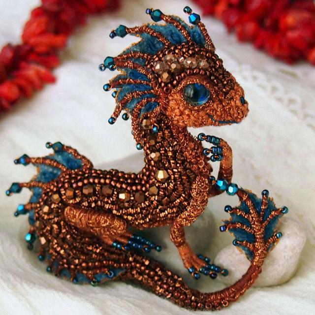 Bead Dragon Brooches H...