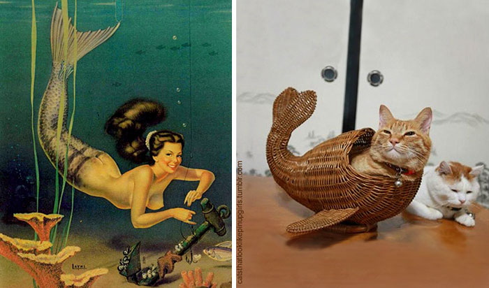 funny-cats-vintage-pin-up-girls-11