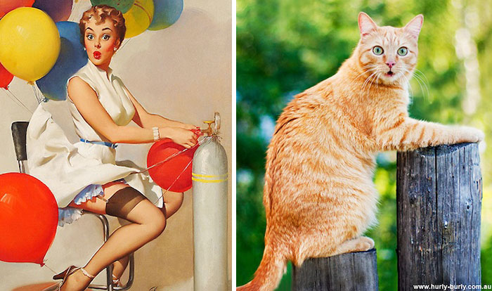 funny-cats-vintage-pin-up-girls-14