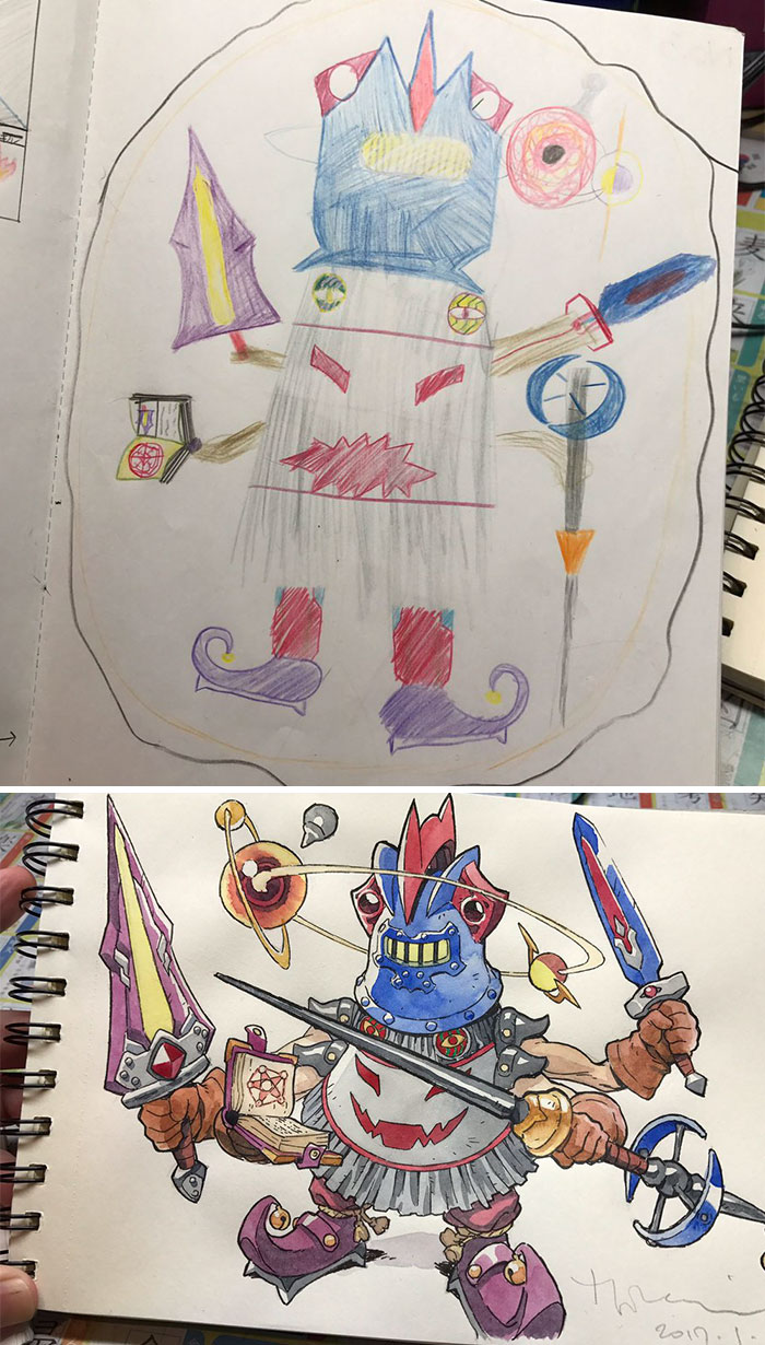 Dad turns sons doodles into detailed anime characters