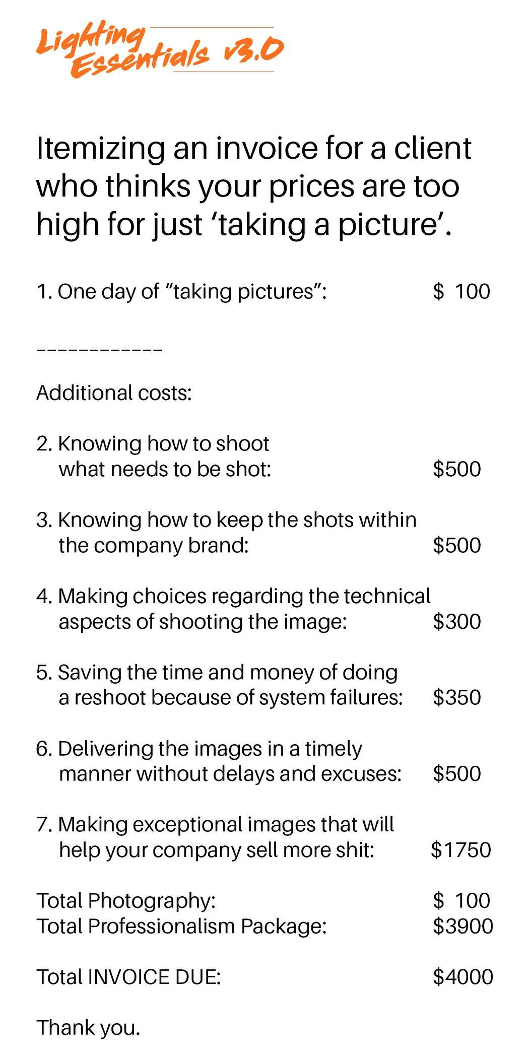 To how much for charge photography