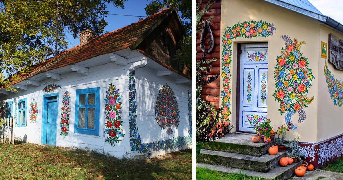 polish village fully covered in colorful flower paintings. Black Bedroom Furniture Sets. Home Design Ideas