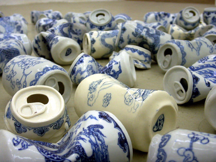 Crushed Soda Cans Made Of Ming Dynasty-Style Porcelain  DeMilked