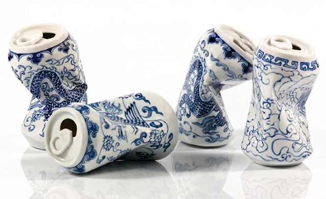 Crushed Soda Cans Made Of Ming Dynasty-Style Porcelain