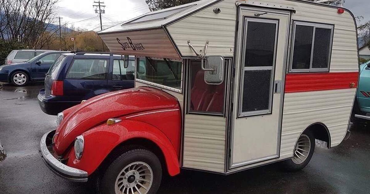 vw beetle  transformed  adorable camper demilked