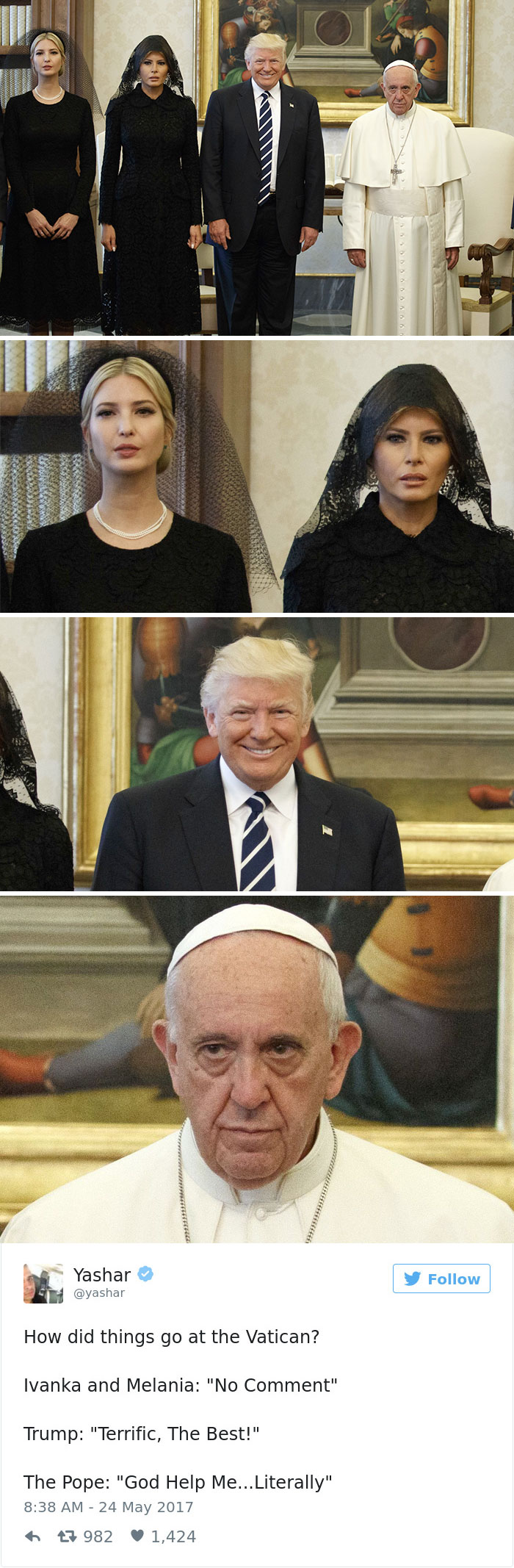donald trump pope francis funny memes 11 10 most creative reactions to sad pope meeting the trumps part 2,Pope Francis Trump Meme