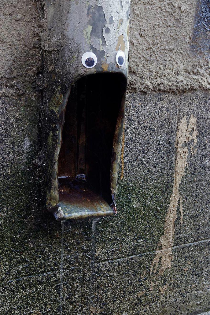 Someone In Bulgaria Puts Googly Eyes On Broken Street