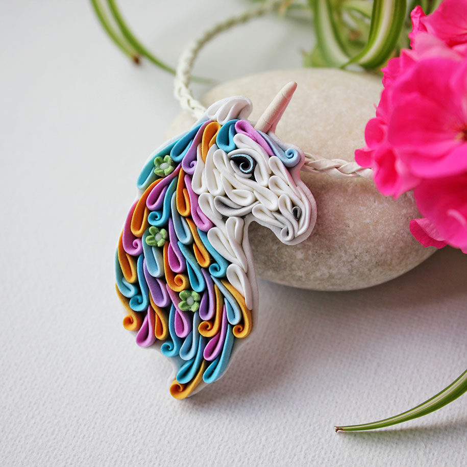 russian artist handcrafts this polymer clay jewelry in