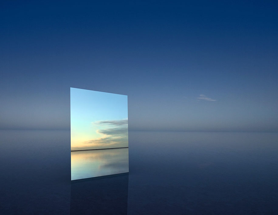 Photographer Put A Huge Mirror In A Salt Flat To Capture