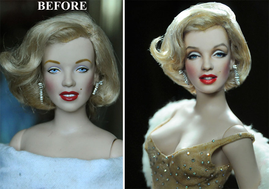 Mass Produced Dolls Repainted To Look More Realistic By