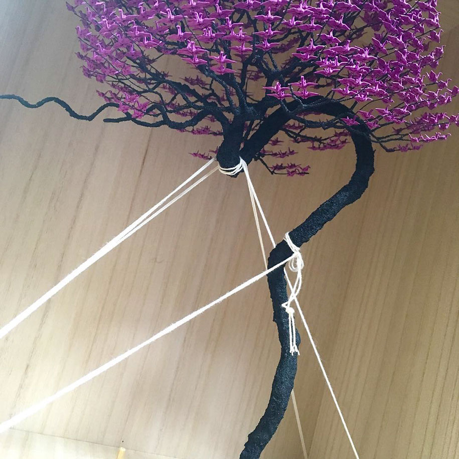 Incredible Bonsai Trees Made Of 1000s Of Miniature Origami Cranes By Naoki Onogawa Demilked