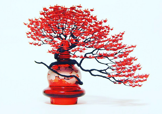 incredible bonsai trees made of 1000s of miniature origami