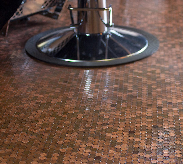 Shop Floor: Barber Decorates Shop's Floor With 70,000 Pennies, And It