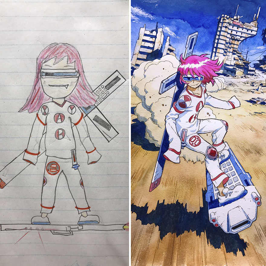 Dad Turns His Sons Doodles Into Anime Characters And The Results - Dad transforms his sons drawings into amazing anime characters