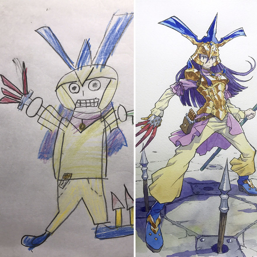 Dad Turns His Sons Doodles Into Anime Characters And The Results
