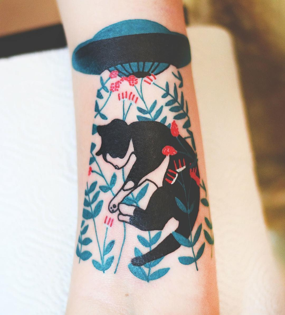 50 Elegant Animal Tattoos In Psychedelic Colors By A Polish Artist