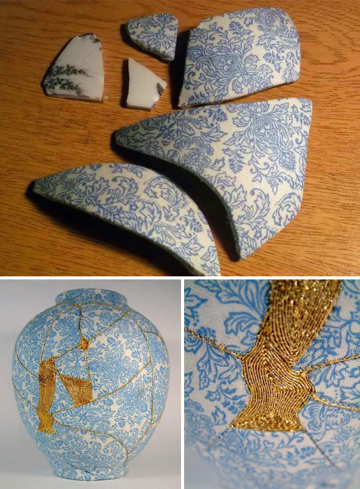 a8d1ca1bfd8  22 Broken Vases Repaired By Sewing Them With Gold Thread