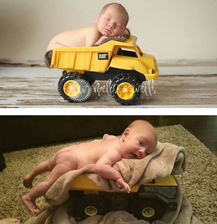 3 sweet baby in a toy truck nailed it