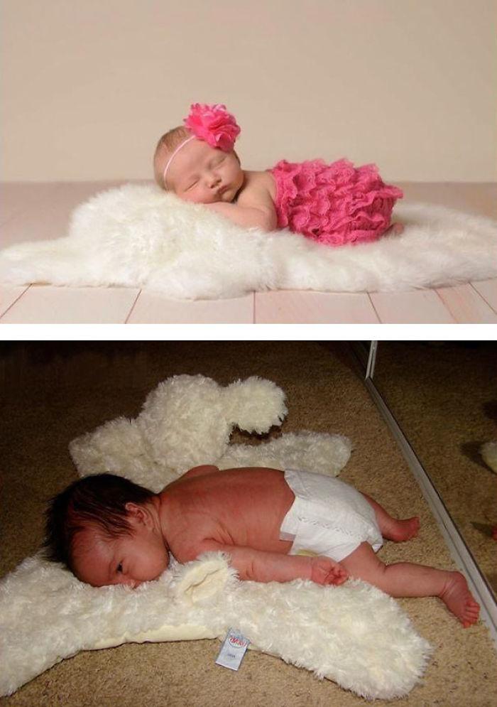 5 cute baby sleeping on fur nailed it