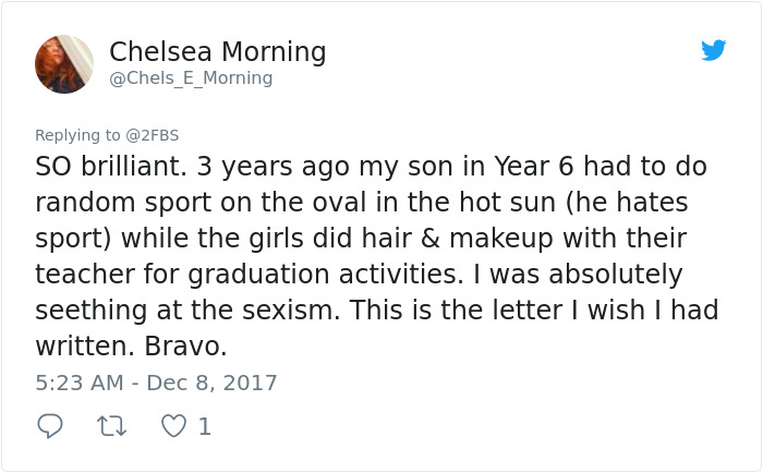 Daughter Complains To Her Dad About Sexism At School, And
