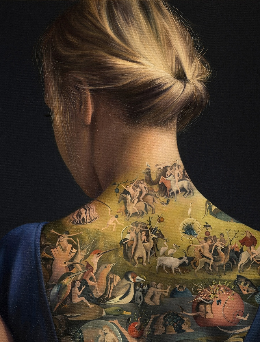 A Tattoo On A Woman\u0027s Back Of \u0027The Garden of Earthly