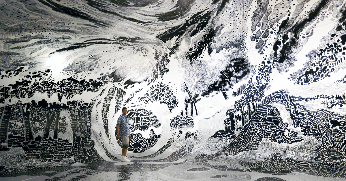 Artist uses 120 sharpies to create a gigantic 360 degree for 360 inspired cuisine lethbridge