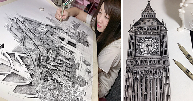 architectural drawings of famous buildings. Simple Drawings Japanese Artist Creates The Most Intricate Drawings Of Famous Buildings  And Itu0027s Hard To See Details With A Naked Eye Architectural Buildings