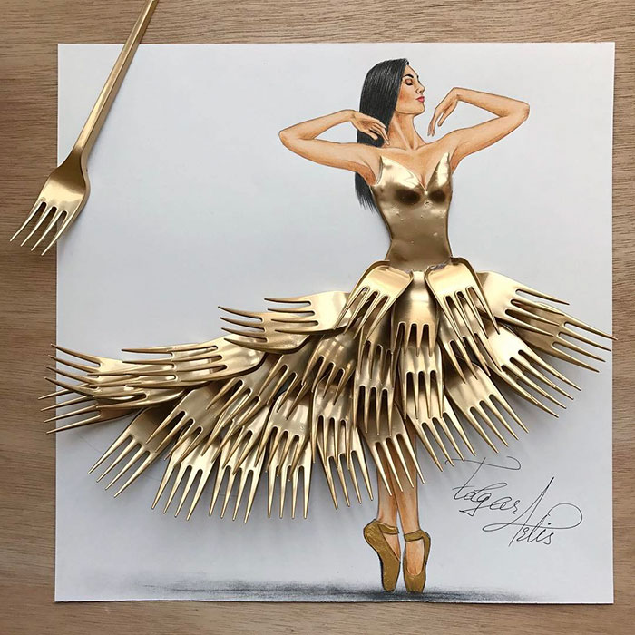 Armenian Illustrator Creates Amazing Dress Designs Using Everyday Objects Part 2 Demilked