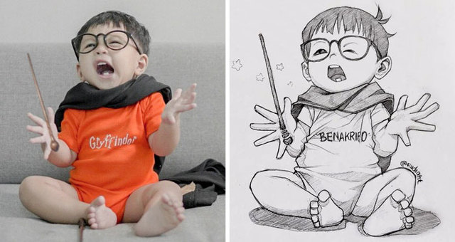indonesian artist sketches real people as cartoons and the results