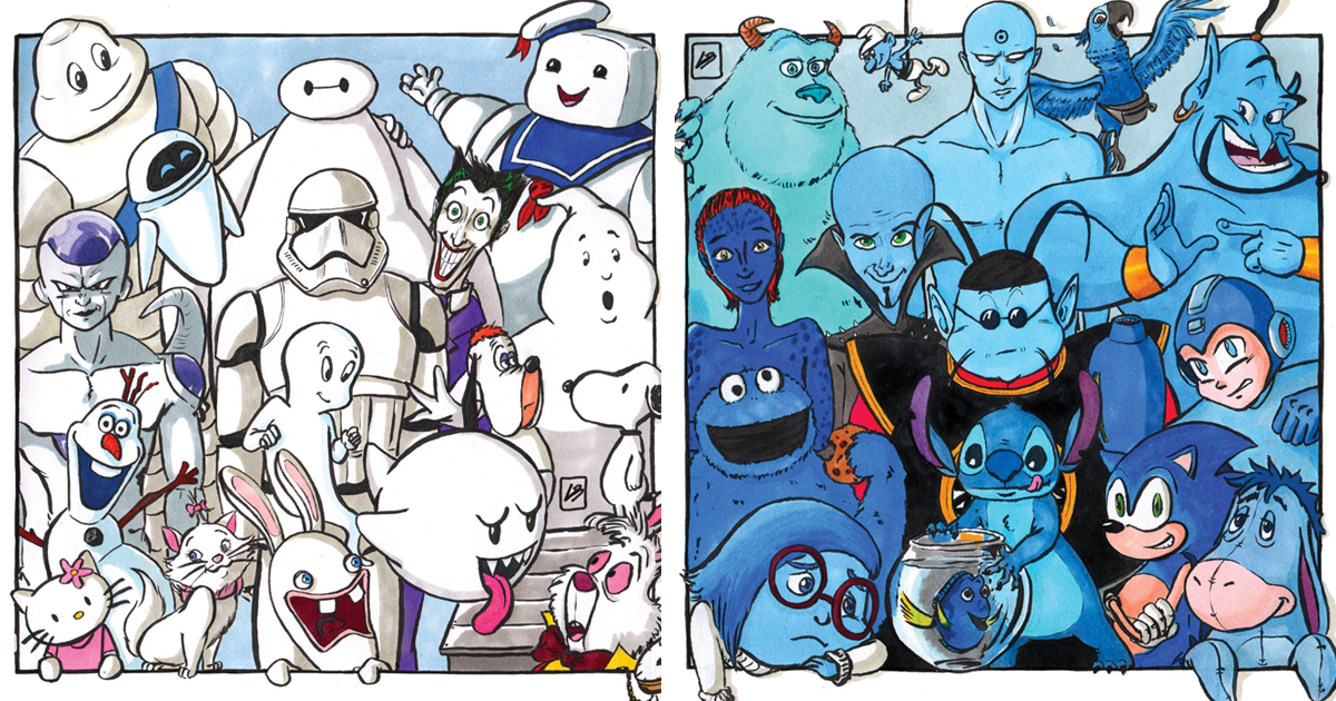 This Artist Sorted Famous Characters By Color And Here's ...  This Artist Sor...