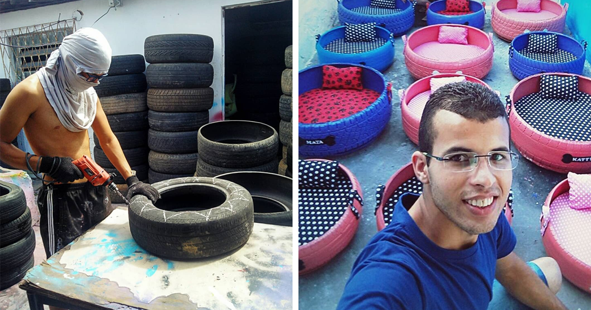 Brazilian Artist Creates Beds For Animals From The Old Tires That He Finds In The Streets