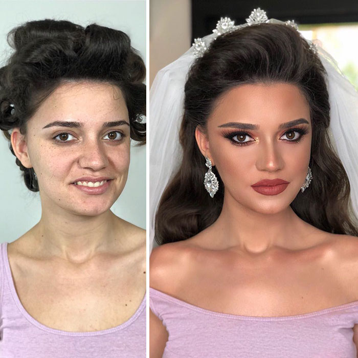 11 Brides Before And After Getting Their Make Up Done