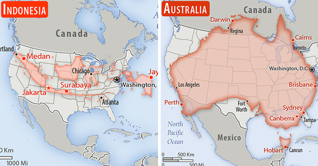 Australia Map Usa.Someone Compared The Sizes Of 30 Countries To Usa With A Real Scale