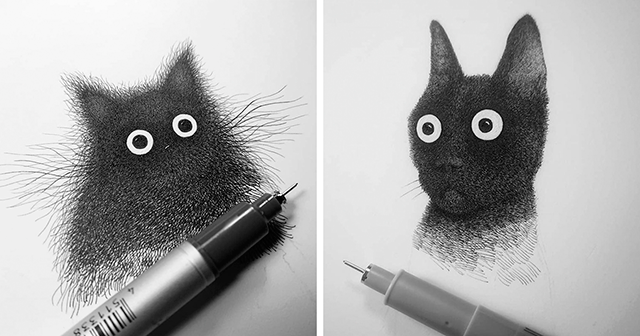 Cats Created Using Hundreds Of Pen Strokes By Luis Coelho Demilked