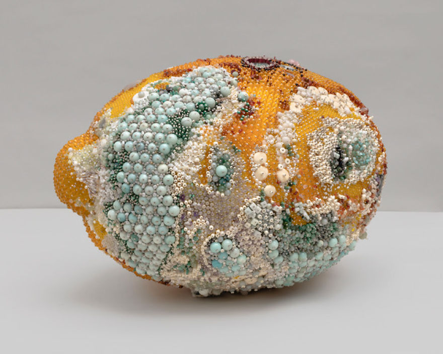 This Artist's Sculptures Look Like Moldy Fruit But Are Actually Made Of Gemstones